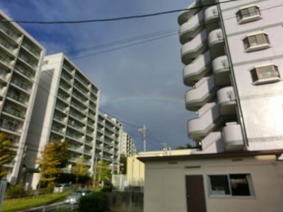 ハウス左の虹