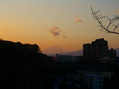 公園から見た夕方の富士山